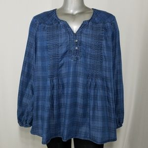 Style & Co Blouse Chambray Plaid Long Sleeve 3X